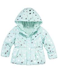 Toddler Girls Mint Blue & Silver Polka Dot Puffer Jacket Winter Snow Coat
