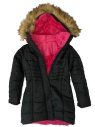 Girls Black 3in1 Convertible Puffer Ski Jacket Hooded Winter Snow Coat