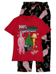 A Christmas Story Mens 2PC Ralphie Leg Lamp Sleep Set Sleepwear Pajama Set