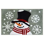 St Nicholas Square Gray Snowman With Snowflake Throw Rug 20x30 Cotton Bath Mat