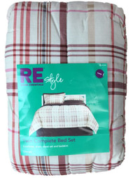 Room Essentials Twin Bed Bag Red Plaid Comforter Sheets Shams Bedskirt