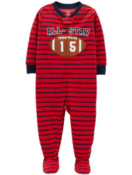Carters Infant & Toddler Boys Plush Red All Star Sleeper Football Pajama