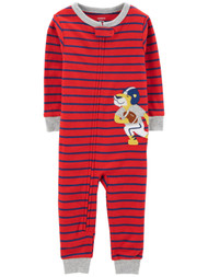 Carters Infant & Toddler Boys Red Stripe Football Lion Sleeper Cotton Pajama