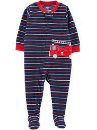 Carters Infant & Toddler Boys Plush Blue Stripe Fire Truck Sleeper Pajama