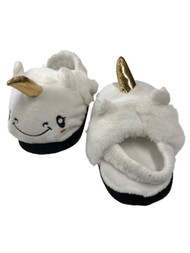 Toddler Girls Fuzzy White Unicorn Slippers House Shoes
