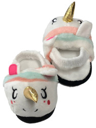 Toddler Girls Fuzzy White Rainbow Unicorn Slippers House Shoes