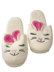 Womens Plush Off White Bunny Rabbit Slippers Scuffs House Shoes