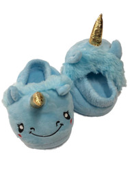 Toddler Girls Fuzzy Blue Unicorn Slippers House Shoes
