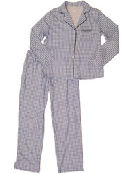 Womens Blue White Gingham Print Checker Pajamas Knit Sleep Set