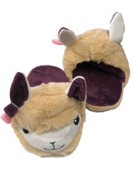 Womens Plush Tan & Purple Llama Slippers Scuffs House Shoes