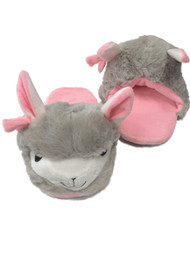 Womens Plush Gray & Pink Llama Slippers Scuffs House Shoes
