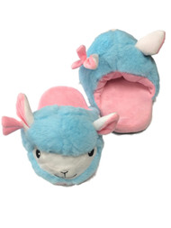 Womens Plush Blue & Pink Llama Slippers Scuffs House Shoes