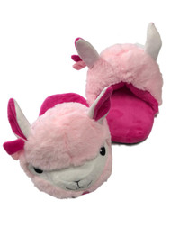 Womens Plush Pink & White Llama Slippers Scuffs House Shoes