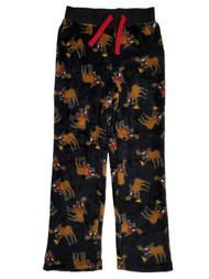 Boys Black Moose Pizza Santa Hat Fleece Sleep Pants Pajama Bottoms