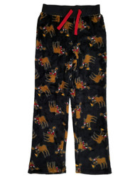 Boys Black Moose Pizza Santa Hat Fleece Sleep Pants Pajama Bottoms