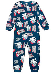Boys Blue Fleece Santa Jaws Union Suit Sleeper Holiday Shark Pajamas 6-7