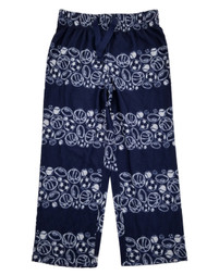 Boys Navy Flannel Sports Stripe Sleep Pants Lounge Pants Pajama Bottoms