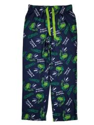 Boys Navy & Green Party Animal Dinosaur Flannel Sleep Pants Pajama Bottoms