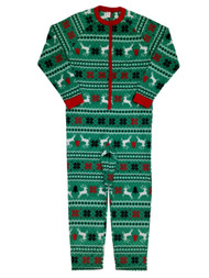 Mens Green Microfleece Fair Isle Christmas Sleepwear Union Suit Pajamas M