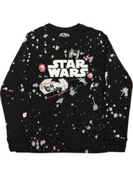 Boys Black Space Ship Star Wars T-Shirt Long Space Tee Shirt