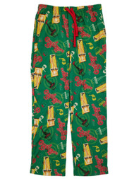 A Christmas Story Mens Green Leg Lamp Flannel Sleep Pants Pajama Bottoms