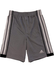 Adidas Climate Boys Gray Stripe Athletic Basketball Gym Shorts