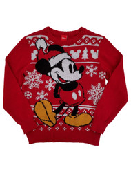 Mickey Mouse Disney Boys Red Knit Christmas Holiday Crew Sweater
