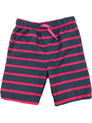 Toddler & Boys Blue & Pink Striped Board Shorts Swim Trunks