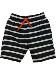 Boys Black & White Striped Board Shorts Swim Trunks