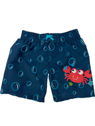 Infant Boys Navy & Red Crab With Bubbles Swim Trunks Baby Board Shorts 0-3m
