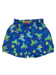 Infant Boys Blue Surfing Dinosaur & Palm Tree Swim Trunks Baby Board Shorts 3-6m