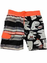Toddler Boys Neon Orange & Black Dinosaur Striped Swim Trunks Board Shorts