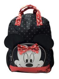Disney Minnie Mouse Black Polka Dot 16 inch Backpack With Lip Gloss School Bag