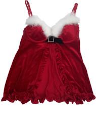 Women Velvet Santa Clause Christmas Babydoll Nightie Nightgown Lingerie Teddy