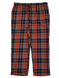 Mens Orange Plaid Flannel Sleep Pants Lounge Pants Pajama Bottoms
