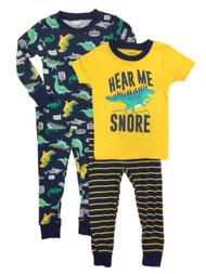Carters Infant Boys Blue 4 Piece Dinosaur Hear Me Snore Pajama Sleep Set