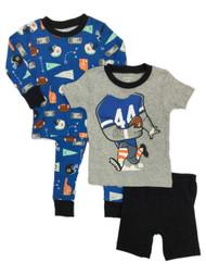 Carters Infant & Toddler Boys Blue 4 Piece Football Themed Pajama Sleep Set