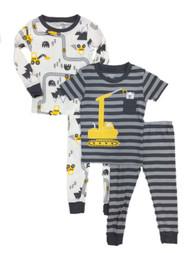 Carters Infant Boys Gray 4 Piece Construction Bear Pajama Sleep Set