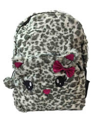 "Accessories 22 Critter 17"" Backpack Fuzzy Spotted Leopard Kid School Book Bag"