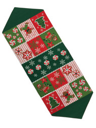 Applique Christmas Patchwork Table Runner, 13x36 Holiday Decor