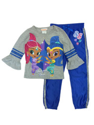 Girls Shimmer & Shine Character Long Sleeve Gray Shirt & Blue Sweat Pants