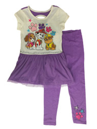 Girls Ivory & Purple Paw Patrol Marshal Skye Rubble Dress & Legging Outfit 6