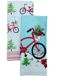 St Nicholas Square Christmas Bicycle Kitchen Towel Set, 2 Bike Dish Towels