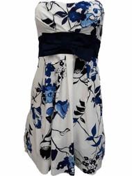 Junior Womens White Blue Floral Flower Cocktail Evening Party Dress Size 5