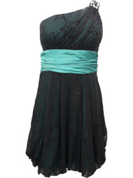Junior Womens Turquoise Black Tulle Floral Sequin Cocktail Evening Dress Size 7