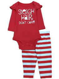 Infant Girls Red Sleigh Hair Don't Care Christmas Creeper Outfit Bodysuit Set