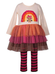Toddler Girls Turkey Fall Holiday Tutu Dress Shirt  & Striped Legging Outfit