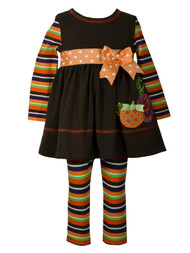 Toddler Girls Fall Holiday Dress Shirt With Bow & Striped Legging Outfit