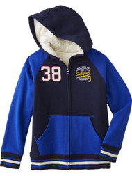 Blue #38 Undefeated Sports Sherpa Lined Zip Front Hoodie Sweatshirt Jacket