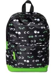 Black & Green Google Eye 15 inch Backpack , School Book Bag